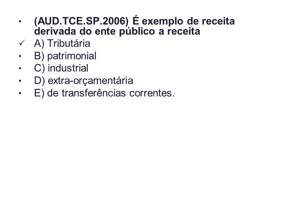 (AUD.TCE.SP.2006) É exemplo de receita derivada do ente público a receita