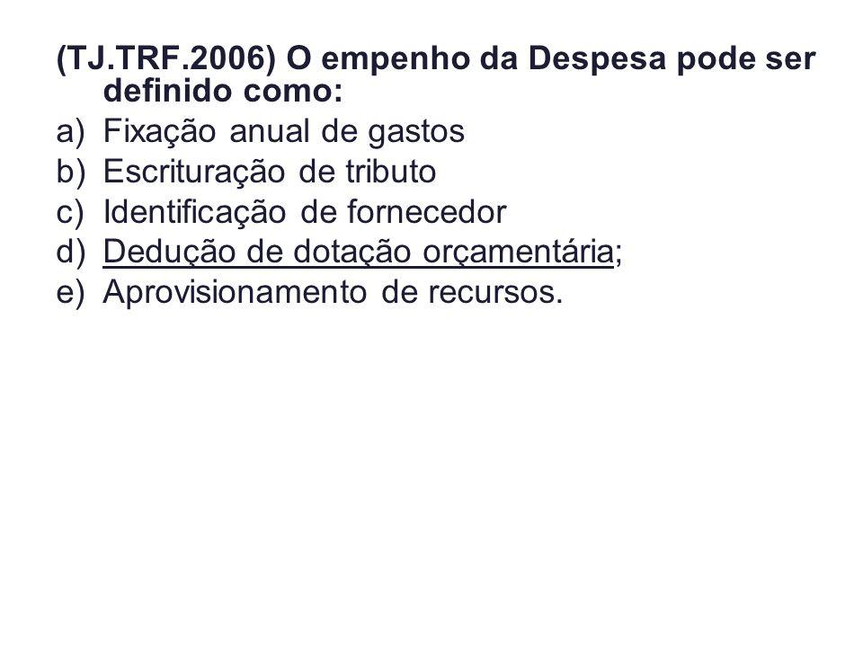 (TJ.TRF.2006) O empenho da Despesa pode ser definido como: