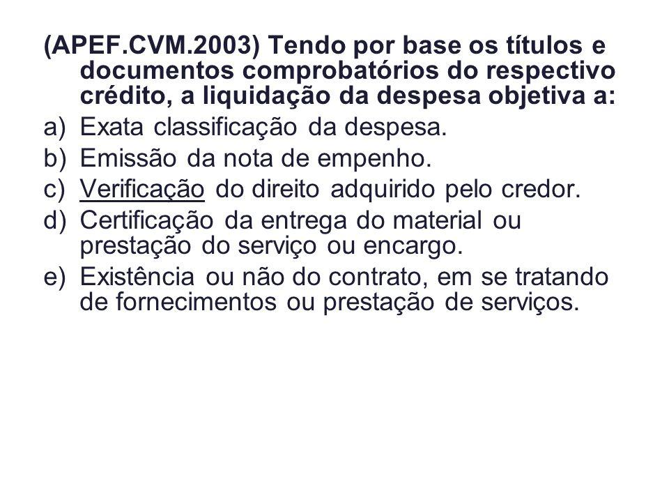 (APEF.CVM.2003) Tendo por base os títulos e documentos comprobatórios do respectivo crédito, a liquidação da despesa objetiva a:
