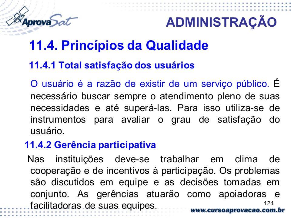 11.4. Princípios da Qualidade 11.4.1 Total satisfação dos usuários