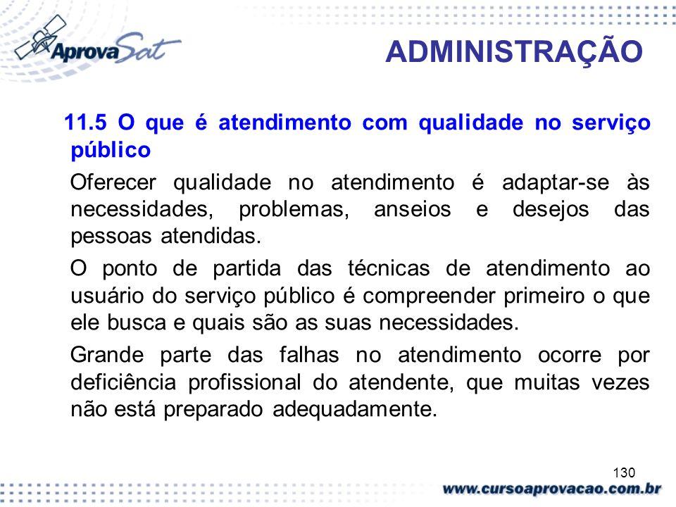 ADMINISTRAÇÃO 11.5 O que é atendimento com qualidade no serviço público.