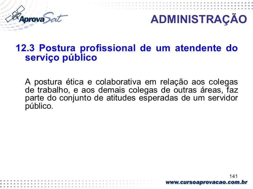 ADMINISTRAÇÃO 12.3 Postura profissional de um atendente do serviço público.