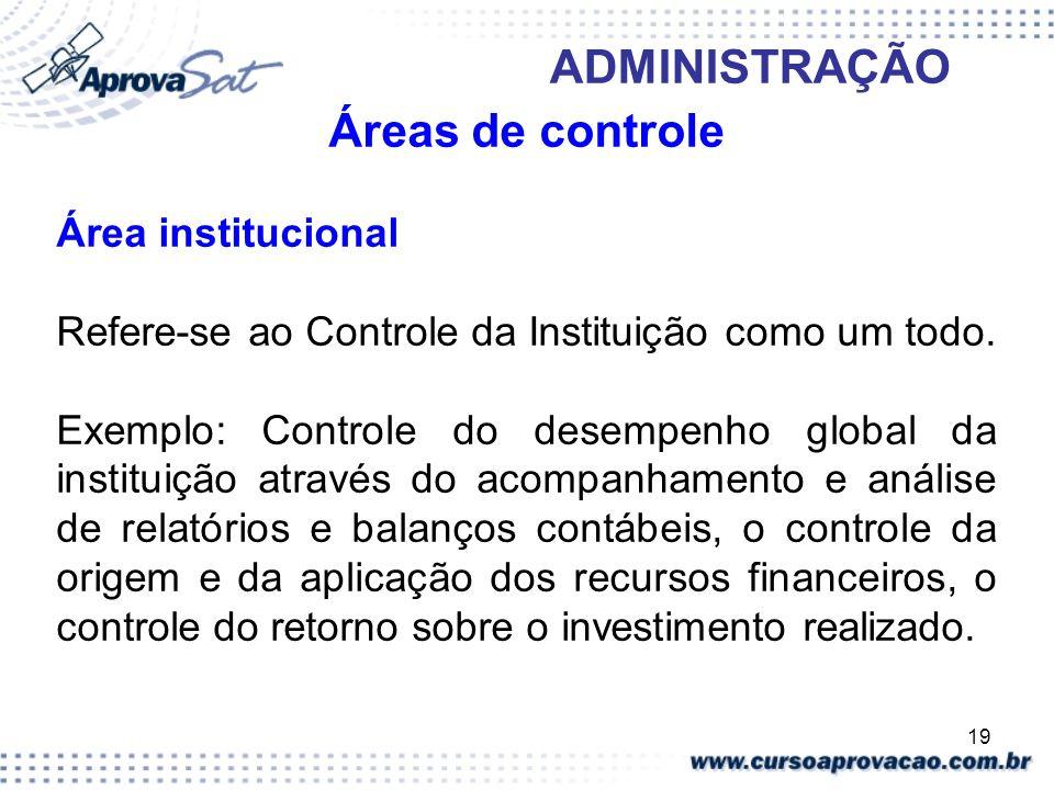 Áreas de controle Área institucional