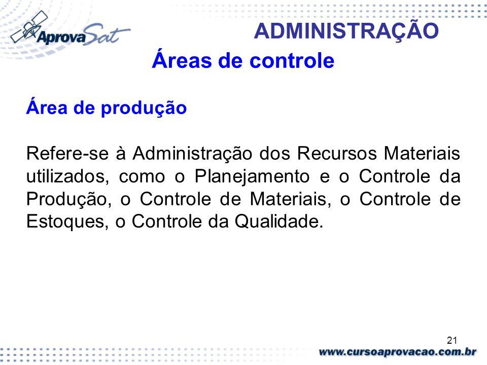 Áreas de controle Área de produção