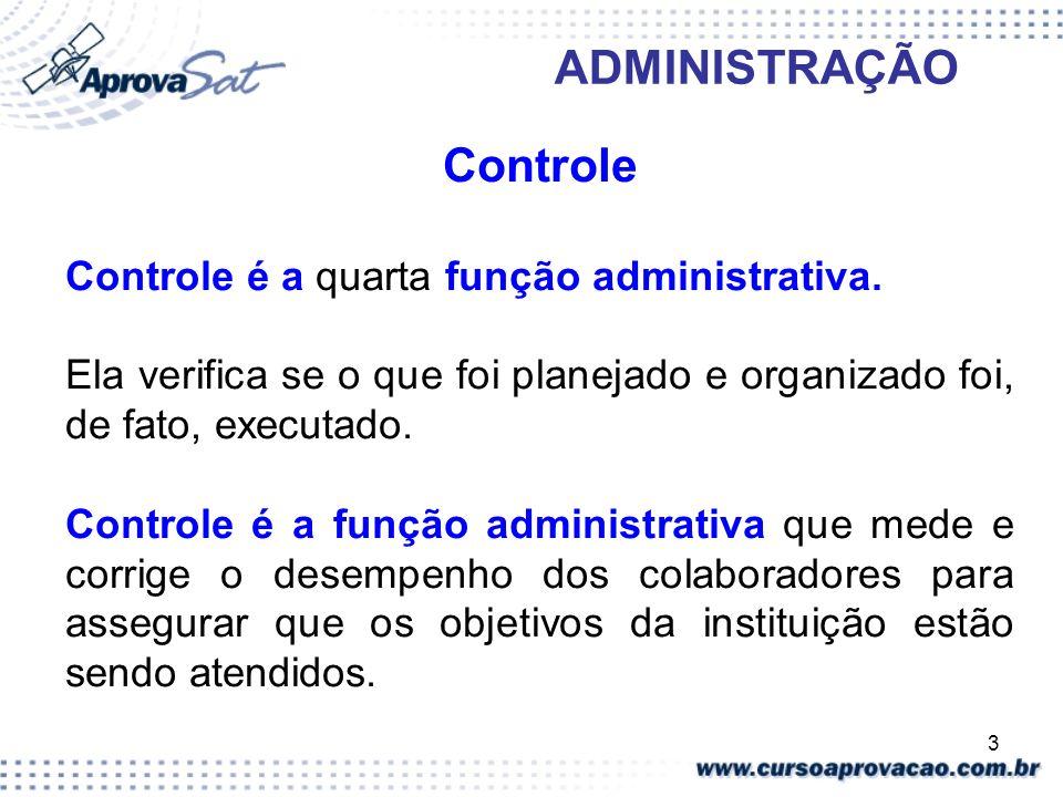 Controle Controle é a quarta função administrativa.