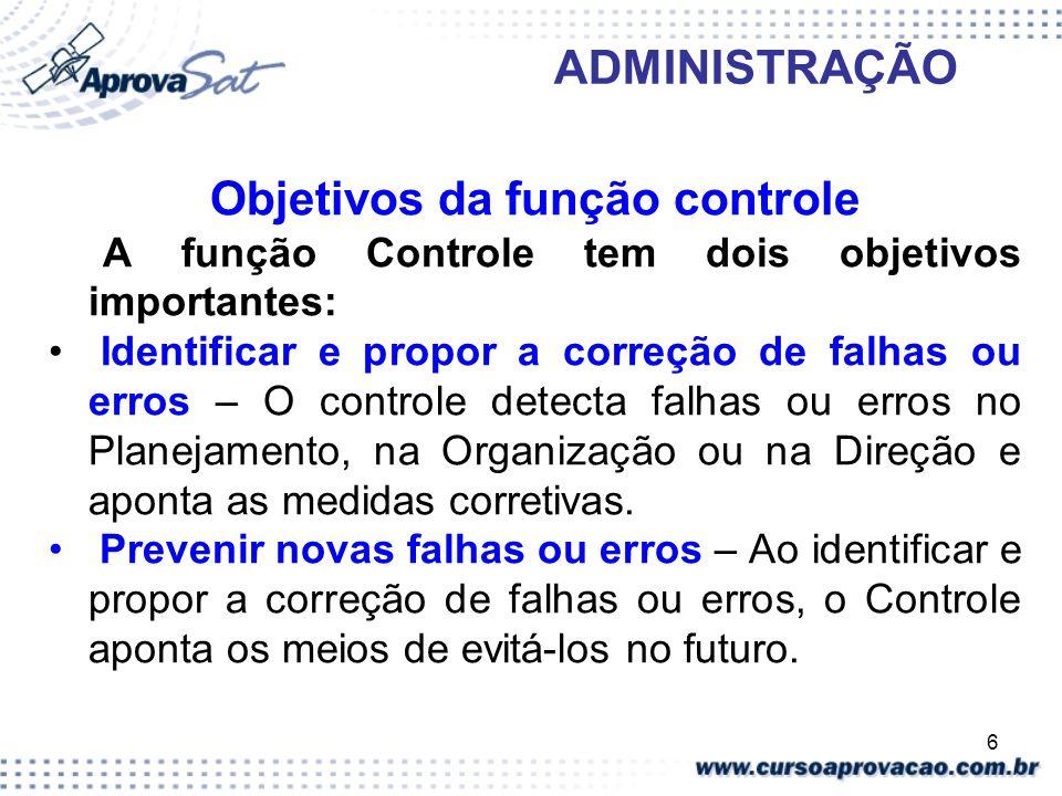 Objetivos da função controle