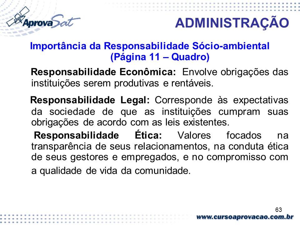 Importância da Responsabilidade Sócio-ambiental (Página 11 – Quadro)