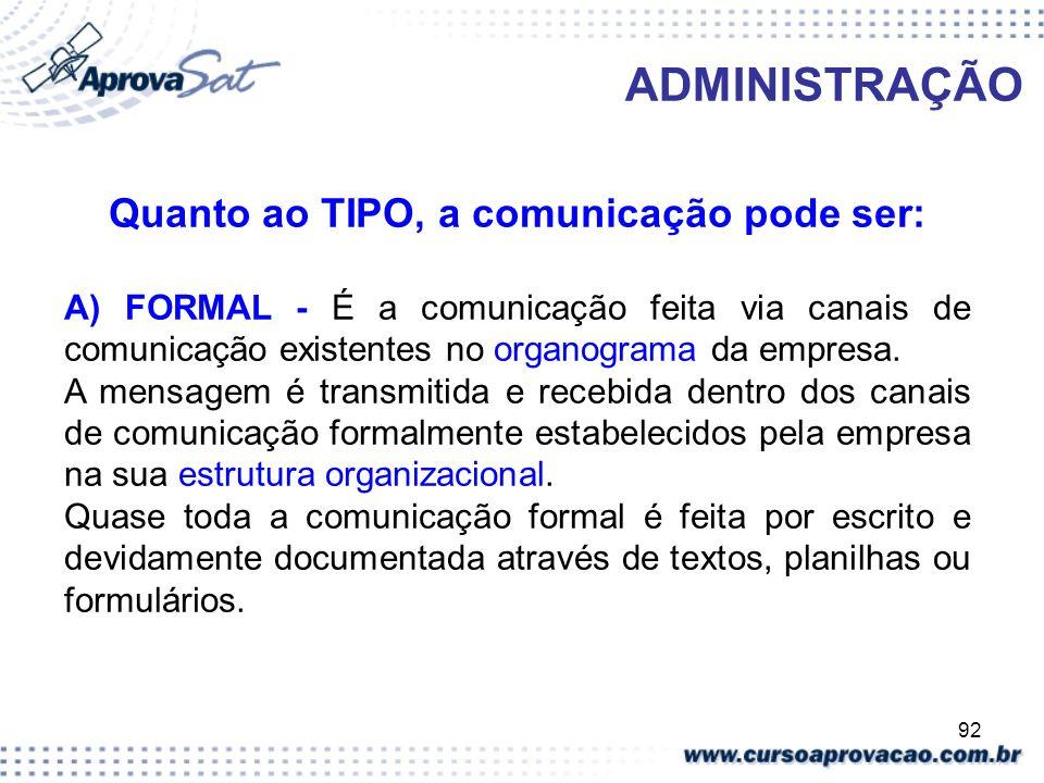 Quanto ao TIPO, a comunicação pode ser: