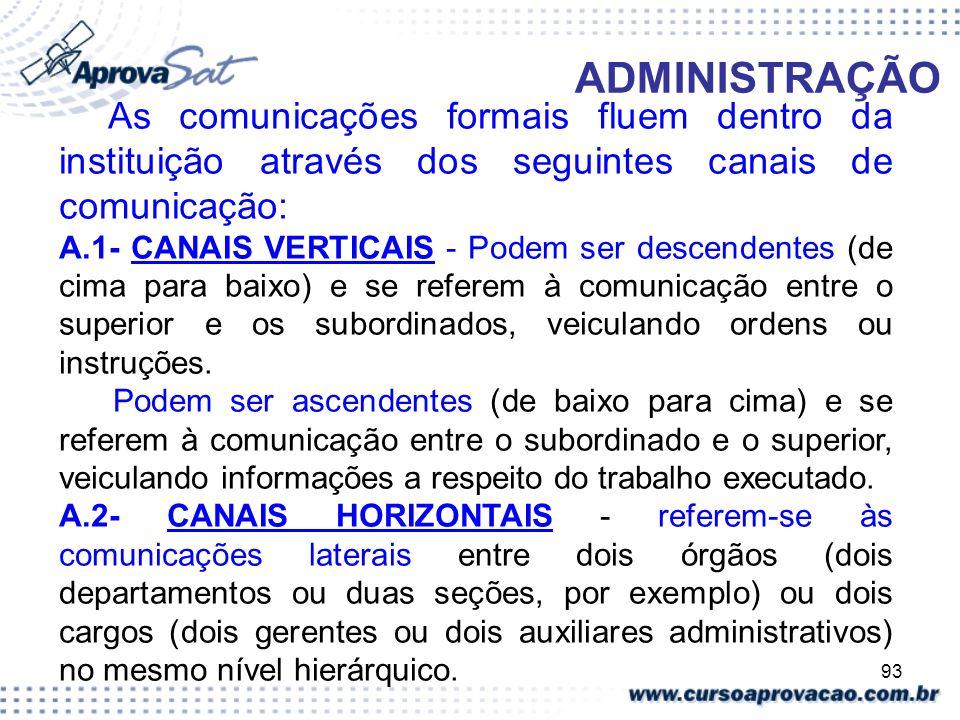 ADMINISTRAÇÃO As comunicações formais fluem dentro da instituição através dos seguintes canais de comunicação: