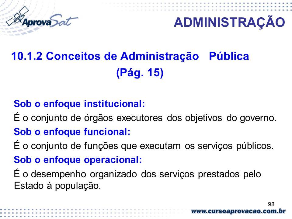 ADMINISTRAÇÃO (Pág. 15) 10.1.2 Conceitos de Administração Pública