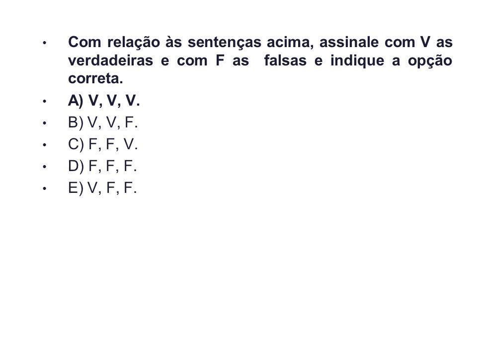 Com relação às sentenças acima, assinale com V as verdadeiras e com F as falsas e indique a opção correta.