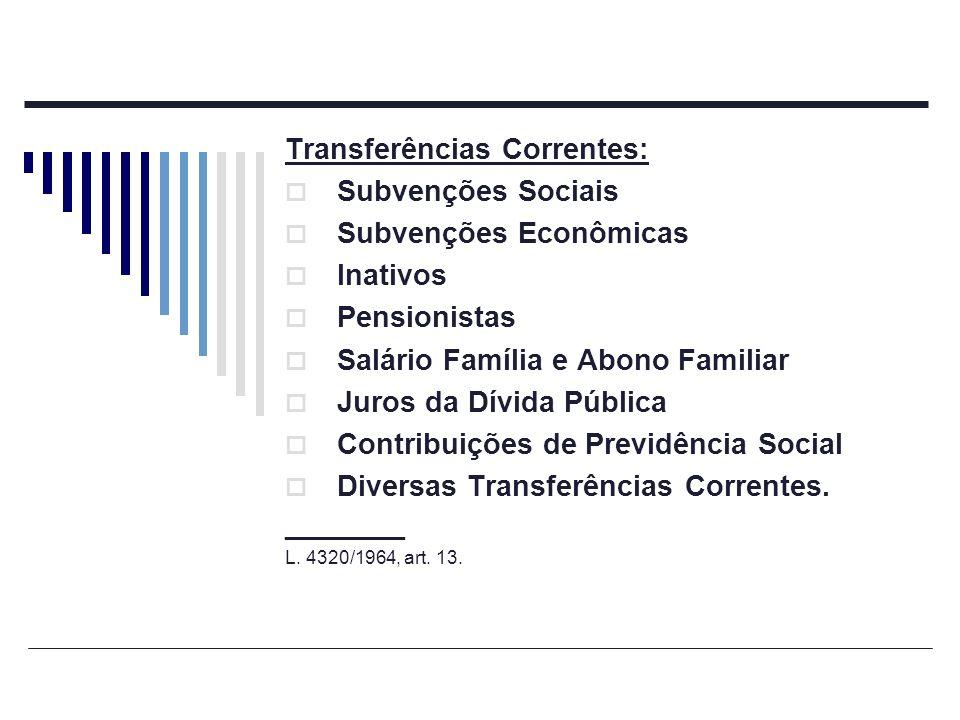 Transferências Correntes: Subvenções Sociais Subvenções Econômicas