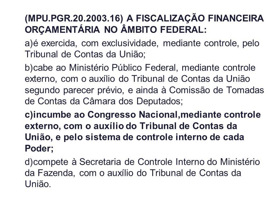 (MPU.PGR.20.2003.16) A FISCALIZAÇÃO FINANCEIRA ORÇAMENTÁRIA NO ÂMBITO FEDERAL: