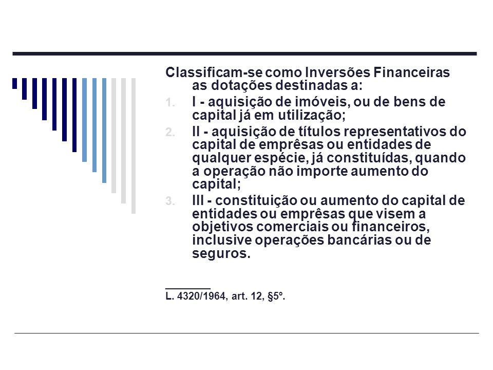 Classificam-se como Inversões Financeiras as dotações destinadas a: