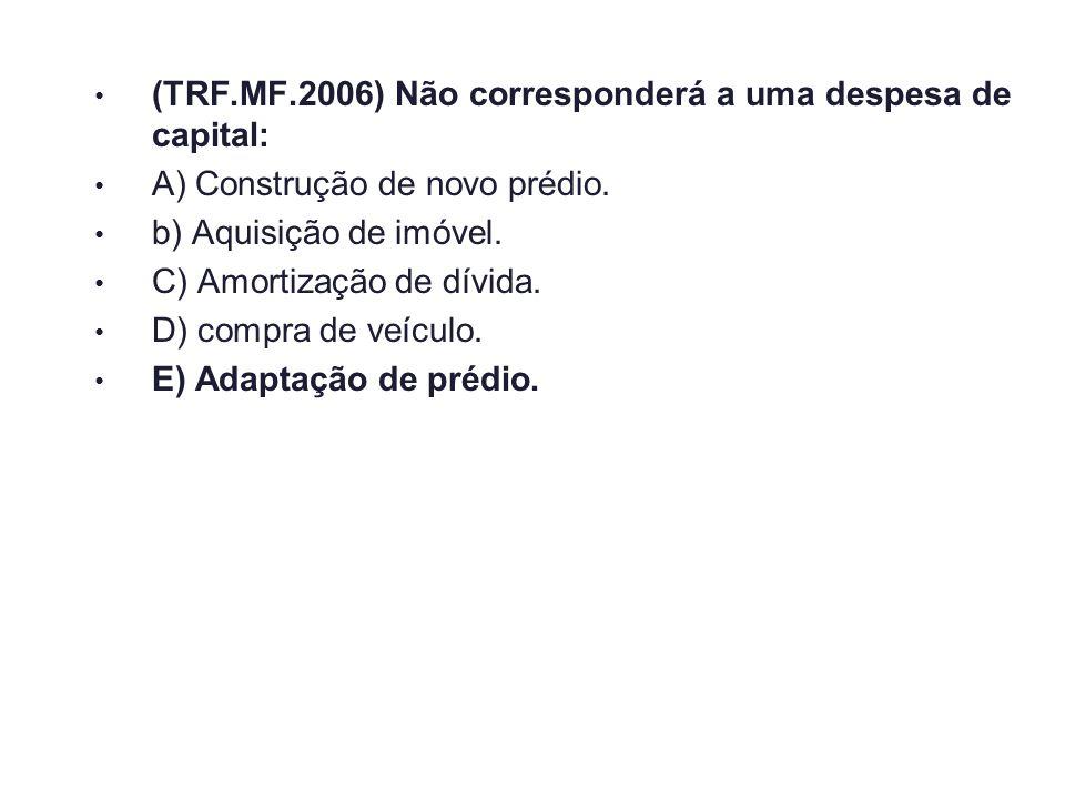 (TRF.MF.2006) Não corresponderá a uma despesa de capital: