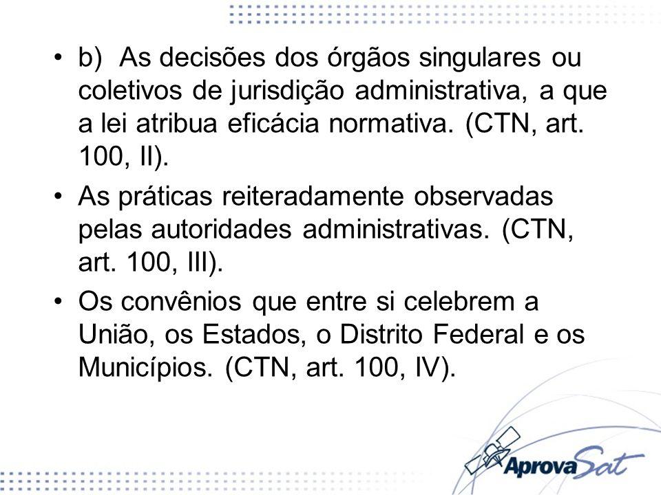 b) As decisões dos órgãos singulares ou coletivos de jurisdição administrativa, a que a lei atribua eficácia normativa. (CTN, art. 100, II).