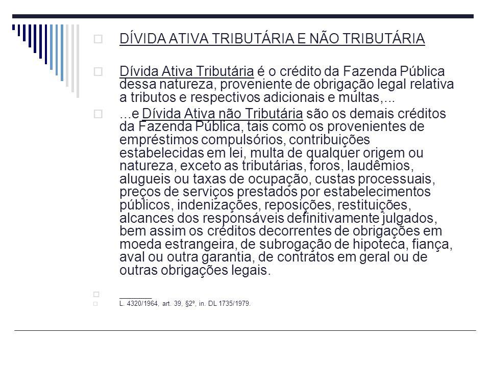 DÍVIDA ATIVA TRIBUTÁRIA E NÃO TRIBUTÁRIA