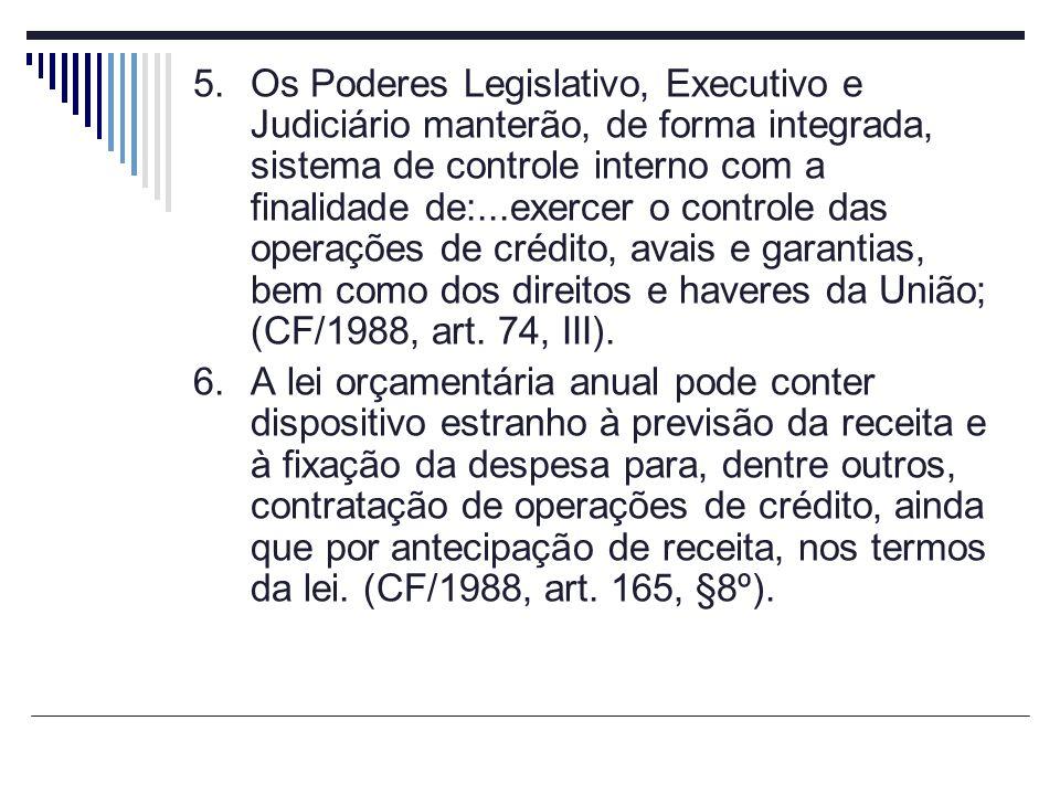 Os Poderes Legislativo, Executivo e Judiciário manterão, de forma integrada, sistema de controle interno com a finalidade de:...exercer o controle das operações de crédito, avais e garantias, bem como dos direitos e haveres da União; (CF/1988, art. 74, III).