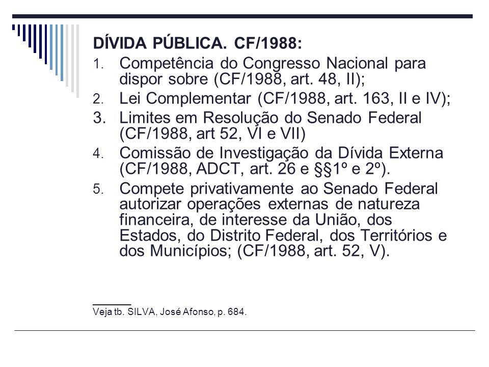 Lei Complementar (CF/1988, art. 163, II e IV);