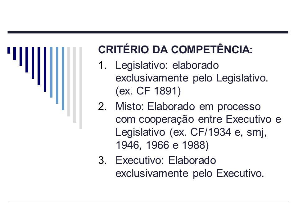 CRITÉRIO DA COMPETÊNCIA: