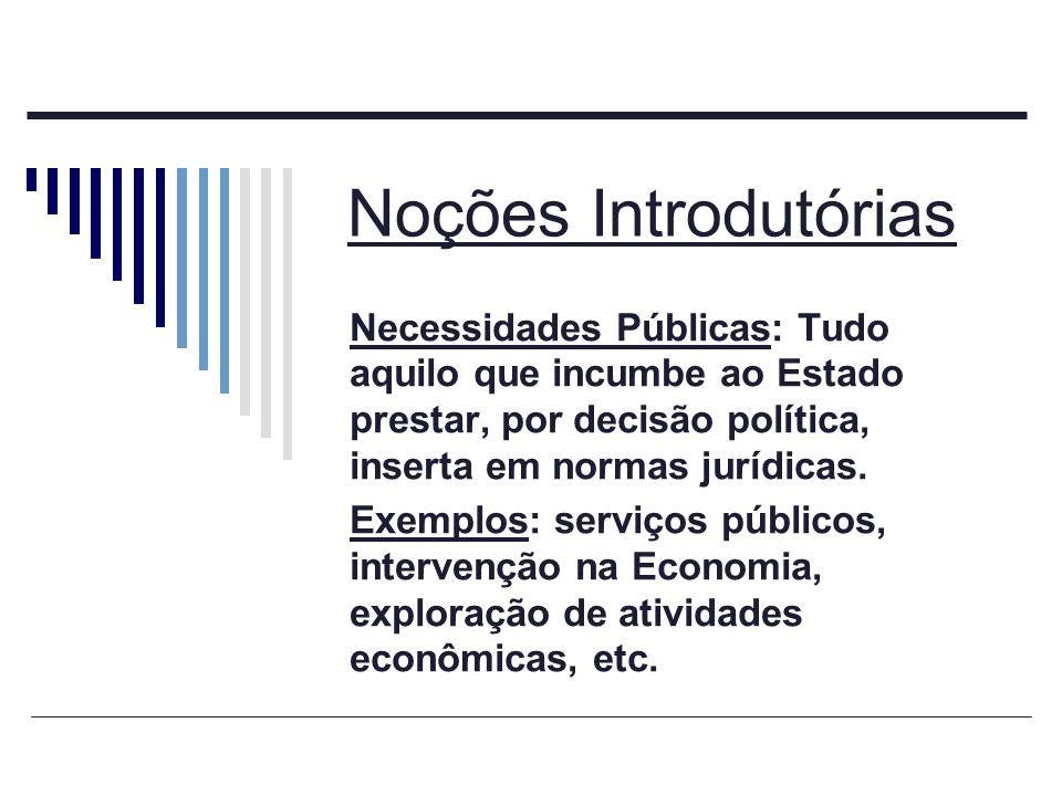 Noções Introdutórias Necessidades Públicas: Tudo aquilo que incumbe ao Estado prestar, por decisão política, inserta em normas jurídicas.