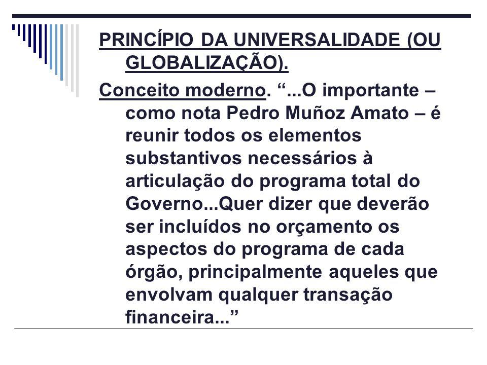 PRINCÍPIO DA UNIVERSALIDADE (OU GLOBALIZAÇÃO).