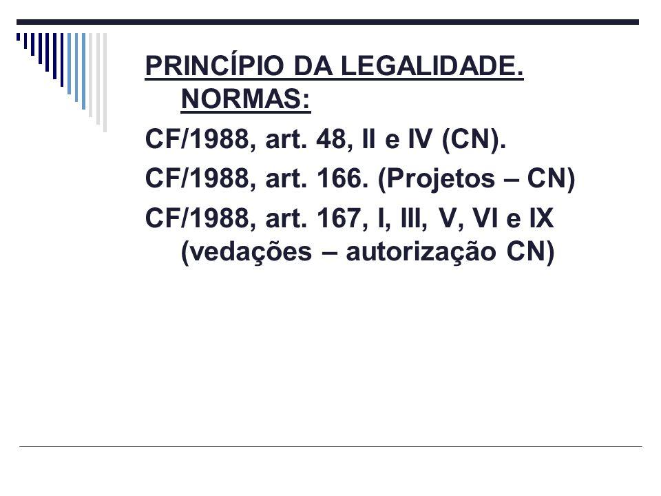 PRINCÍPIO DA LEGALIDADE. NORMAS: