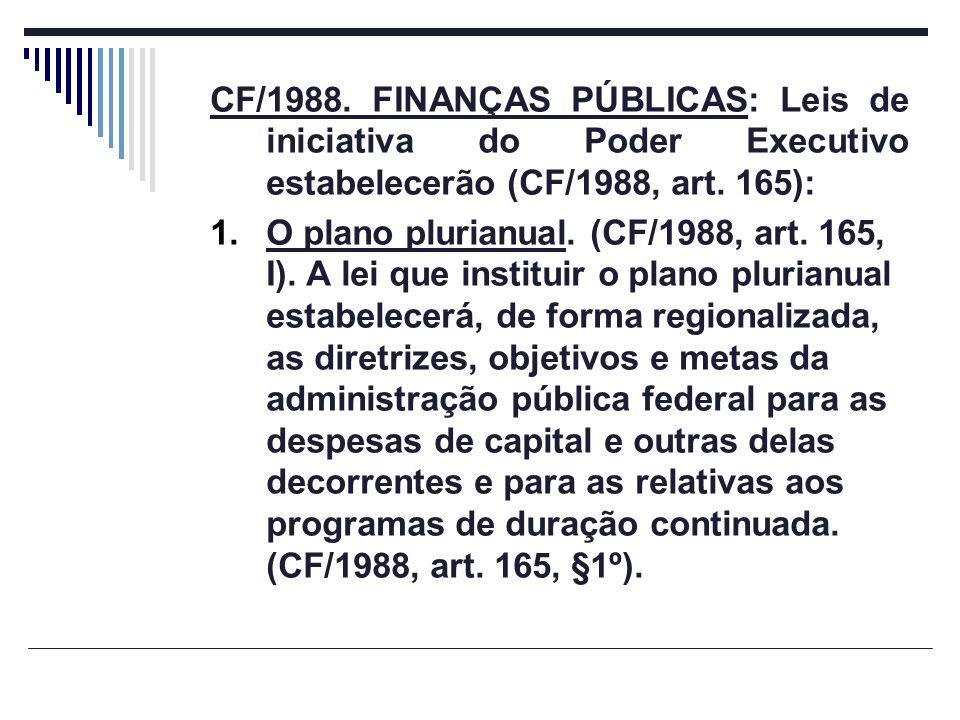 CF/1988. FINANÇAS PÚBLICAS: Leis de iniciativa do Poder Executivo estabelecerão (CF/1988, art. 165):