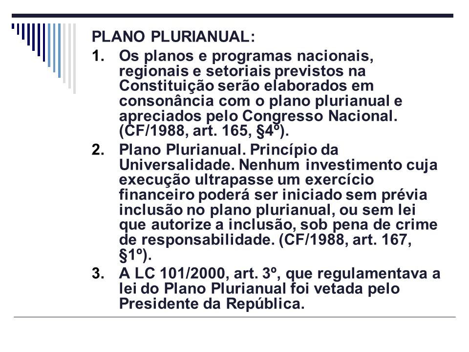 PLANO PLURIANUAL: