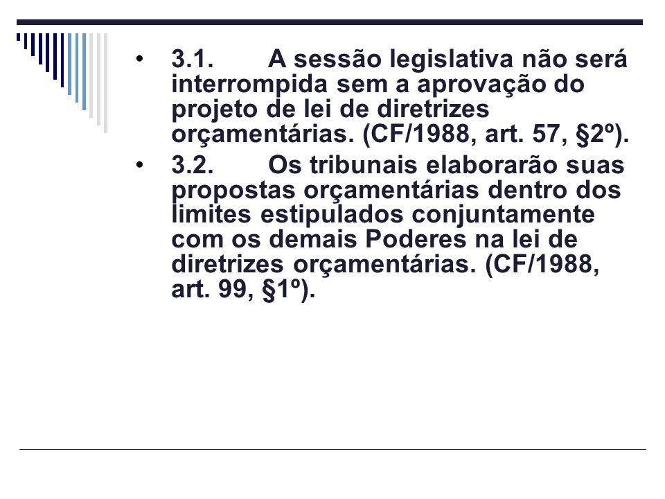 3.1. A sessão legislativa não será interrompida sem a aprovação do projeto de lei de diretrizes orçamentárias. (CF/1988, art. 57, §2º).