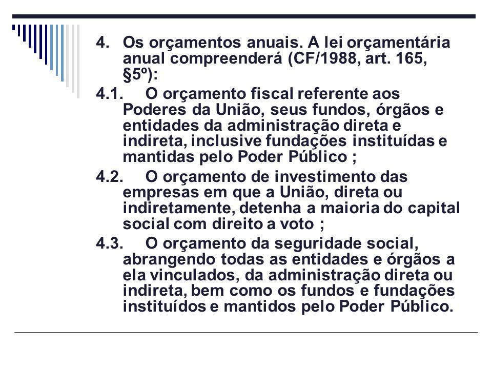 4. Os orçamentos anuais. A lei orçamentária anual compreenderá (CF/1988, art. 165, §5º):