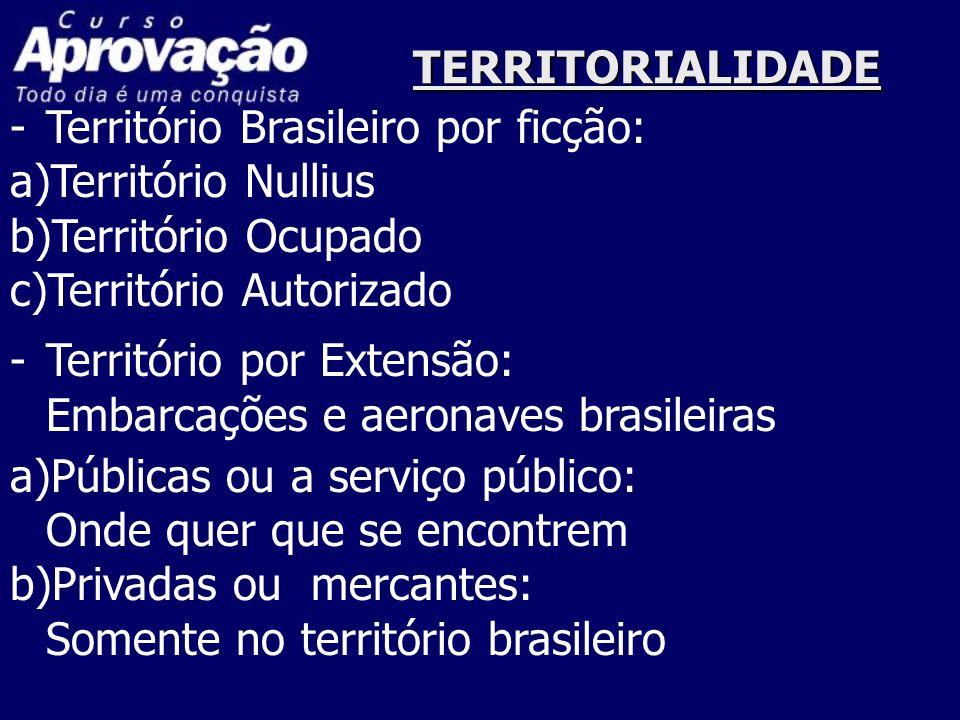 TERRITORIALIDADE Território Brasileiro por ficção: a)Território Nullius. b)Território Ocupado. c)Território Autorizado.