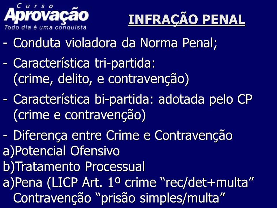 INFRAÇÃO PENAL Conduta violadora da Norma Penal; Característica tri-partida: (crime, delito, e contravenção)
