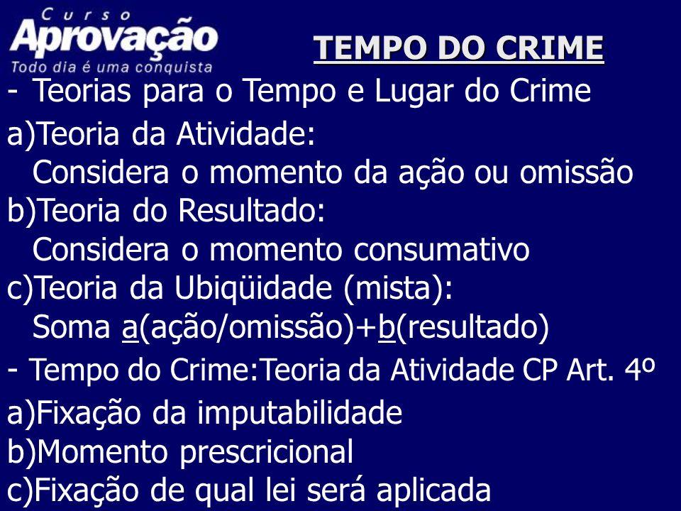 TEMPO DO CRIME Teorias para o Tempo e Lugar do Crime. a)Teoria da Atividade: Considera o momento da ação ou omissão.