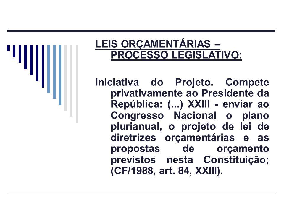 LEIS ORÇAMENTÁRIAS – PROCESSO LEGISLATIVO: