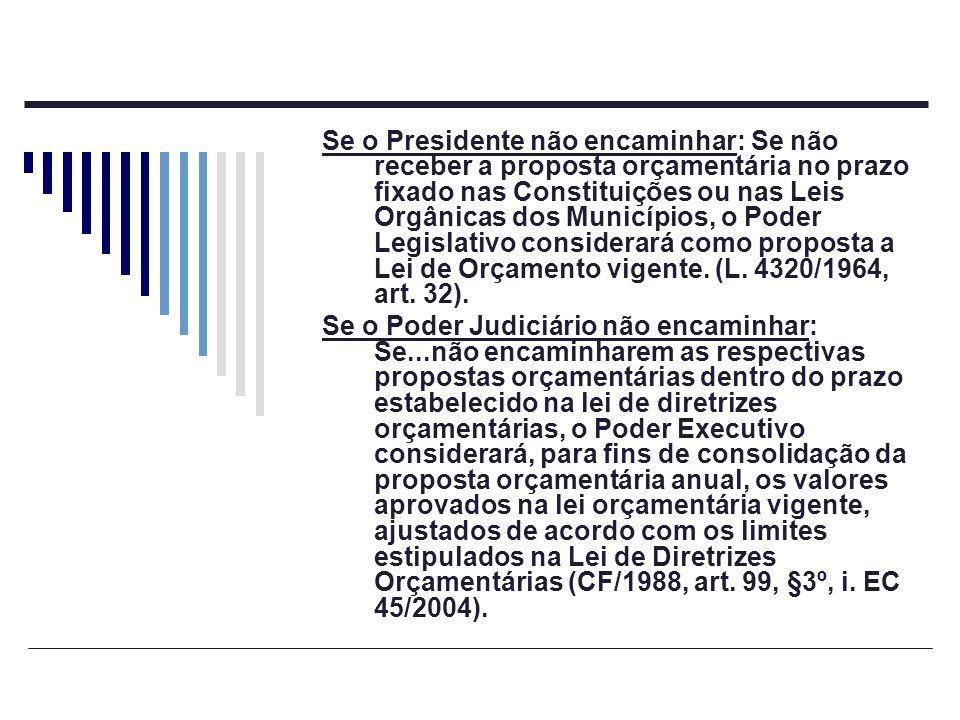 Se o Presidente não encaminhar: Se não receber a proposta orçamentária no prazo fixado nas Constituições ou nas Leis Orgânicas dos Municípios, o Poder Legislativo considerará como proposta a Lei de Orçamento vigente. (L. 4320/1964, art. 32).
