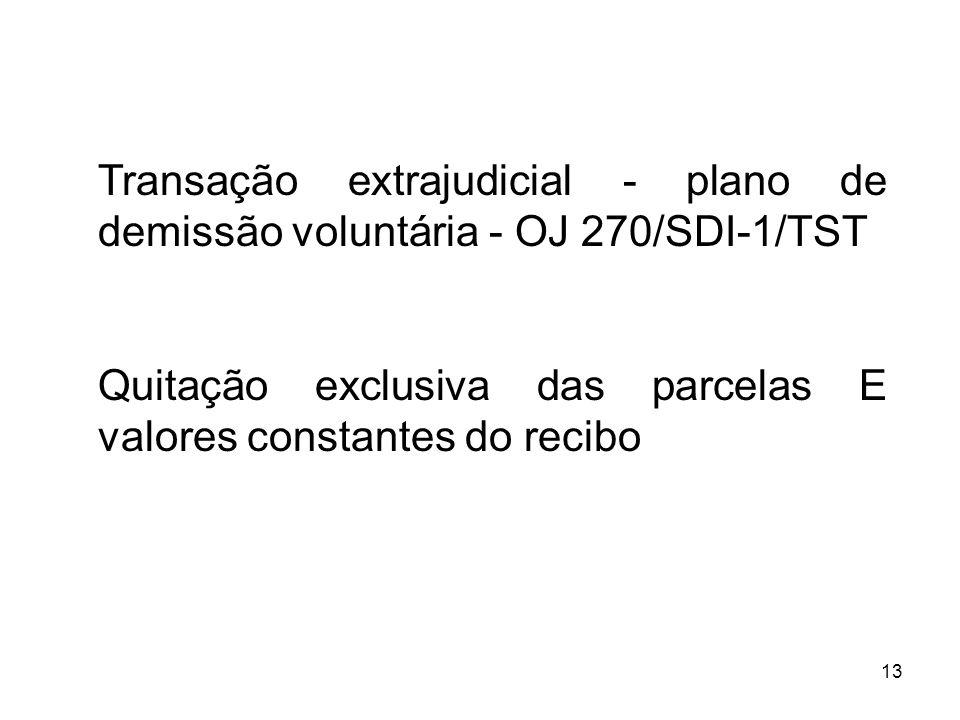 Transação extrajudicial - plano de demissão voluntária - OJ 270/SDI-1/TST