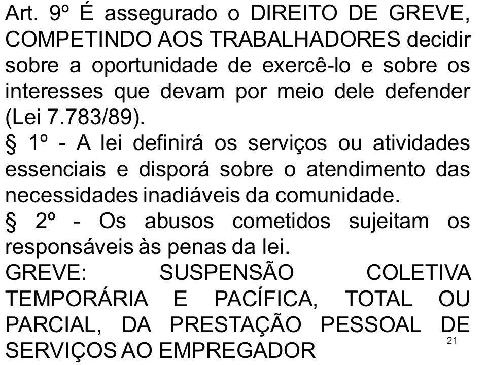 Art. 9º É assegurado o DIREITO DE GREVE, COMPETINDO AOS TRABALHADORES decidir sobre a oportunidade de exercê-lo e sobre os interesses que devam por meio dele defender (Lei 7.783/89).