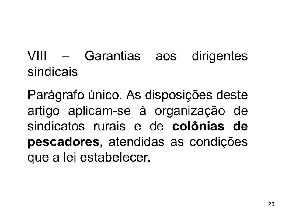 VIII – Garantias aos dirigentes sindicais