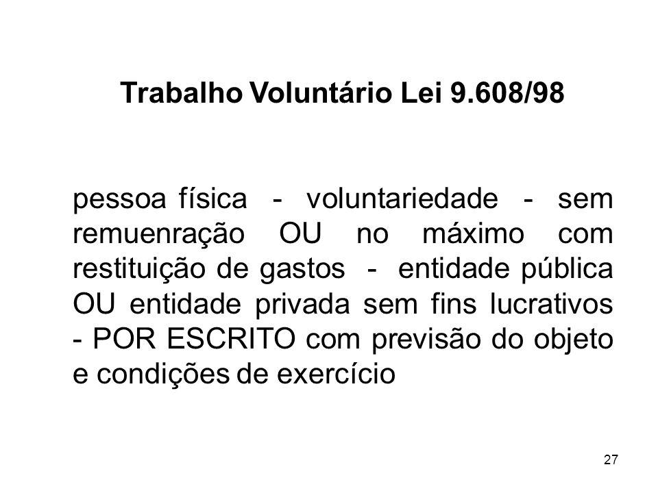 Trabalho Voluntário Lei 9.608/98