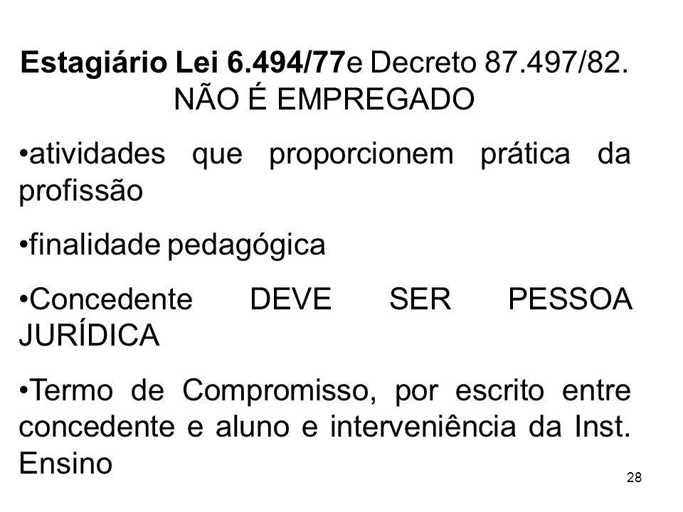 Estagiário Lei 6.494/77e Decreto 87.497/82. NÃO É EMPREGADO