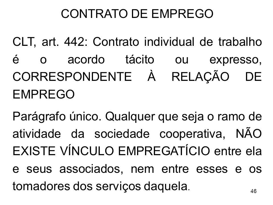 CONTRATO DE EMPREGO CLT, art. 442: Contrato individual de trabalho é o acordo tácito ou expresso, CORRESPONDENTE À RELAÇÃO DE EMPREGO.