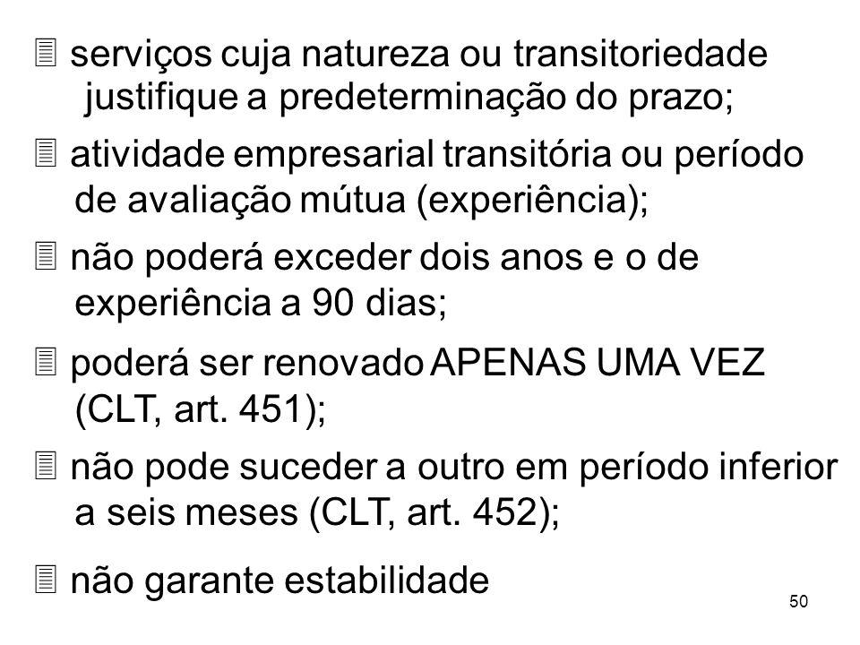 serviços cuja natureza ou transitoriedade