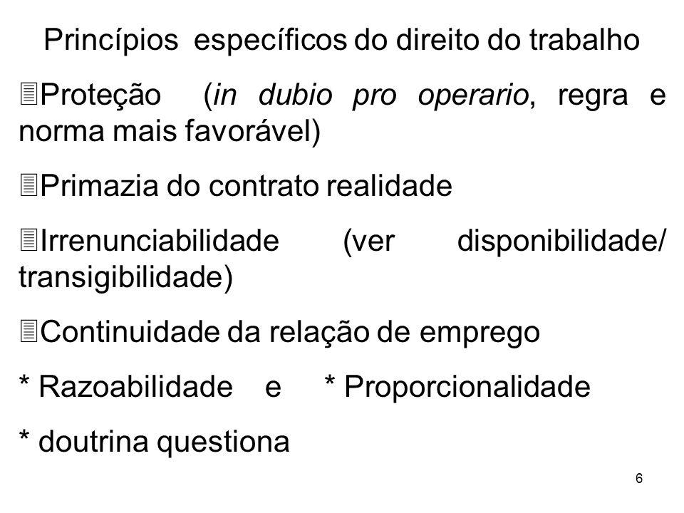 Princípios específicos do direito do trabalho