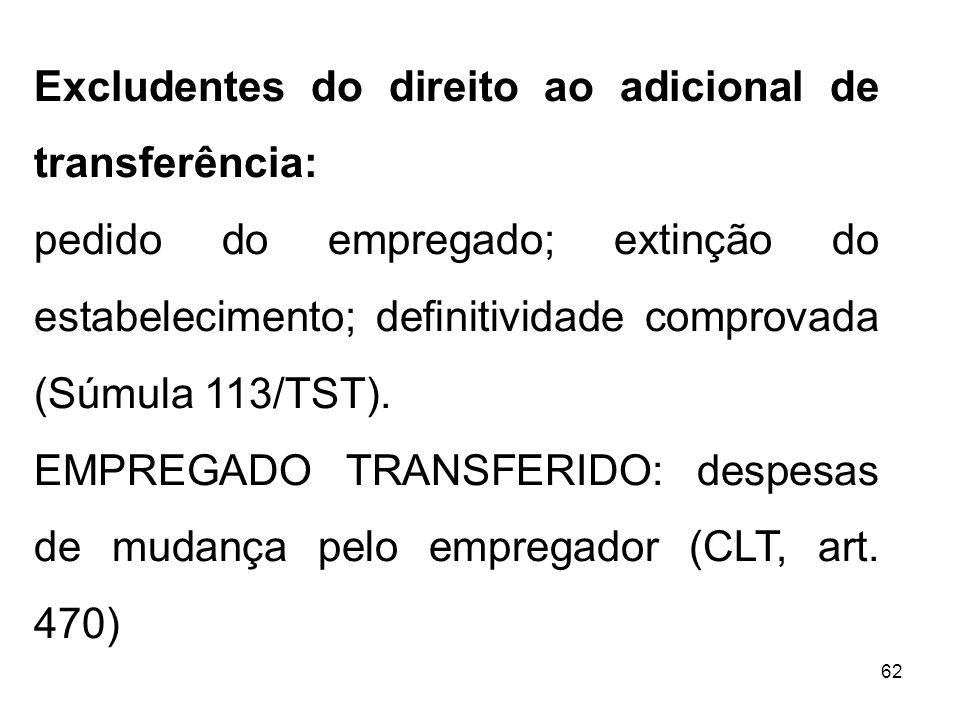 Excludentes do direito ao adicional de transferência: