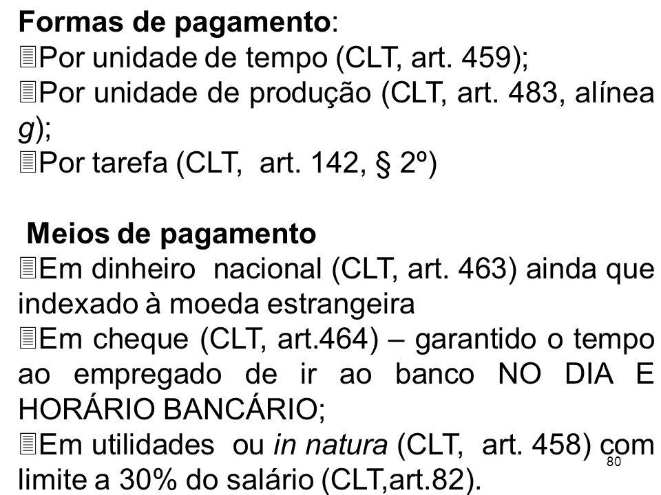 Formas de pagamento:Por unidade de tempo (CLT, art. 459); Por unidade de produção (CLT, art. 483, alínea g);