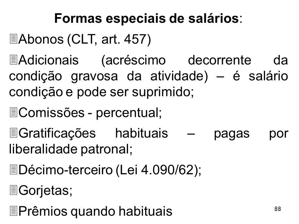 Formas especiais de salários: