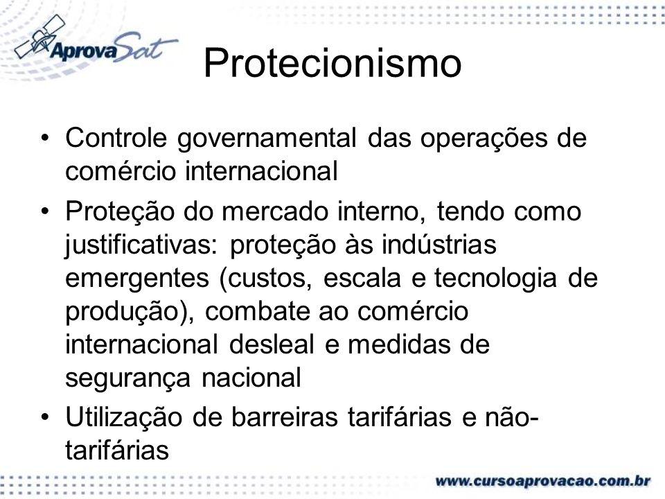 Protecionismo Controle governamental das operações de comércio internacional.
