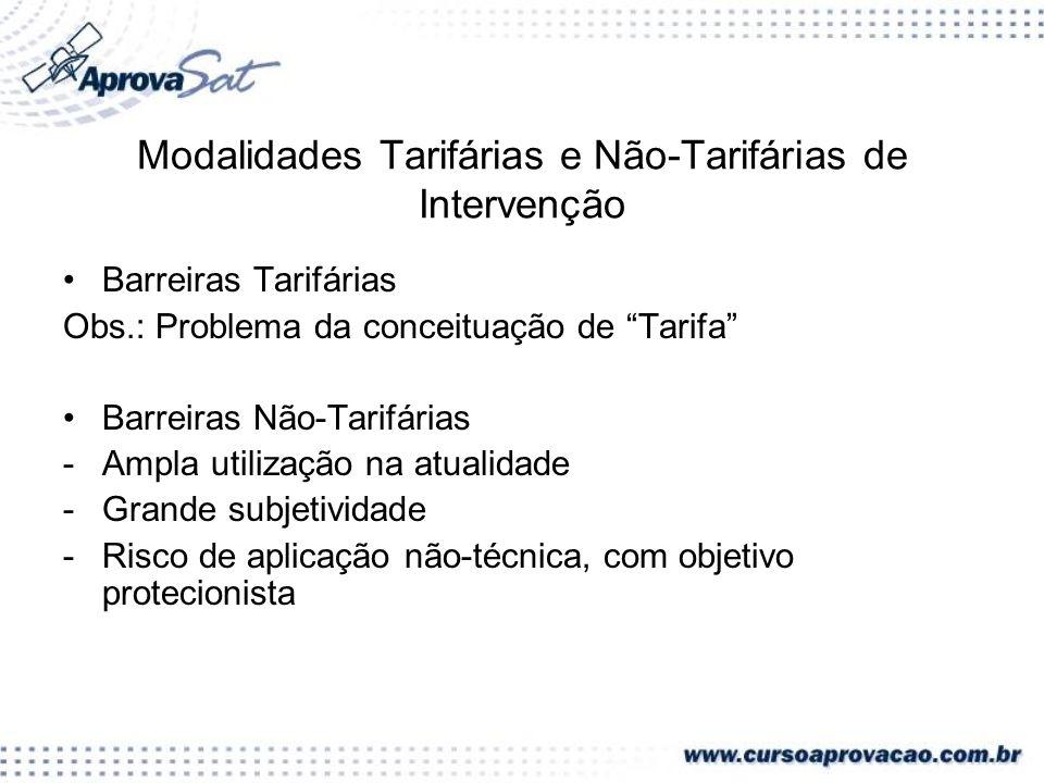 Modalidades Tarifárias e Não-Tarifárias de Intervenção