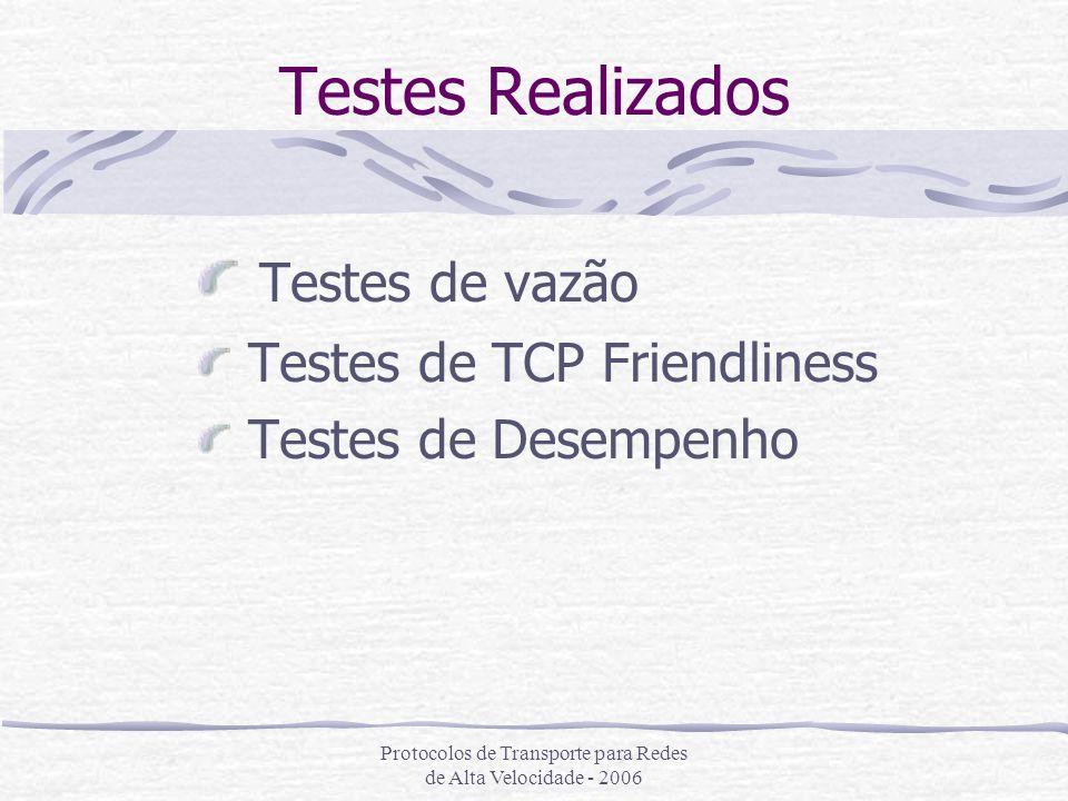 Testes de vazão Testes de TCP Friendliness Testes de Desempenho